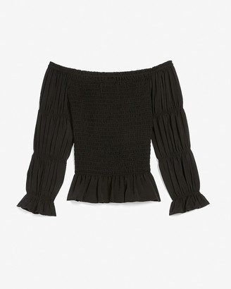 Express Smocked Off The Shoulder Tiered Sleeve Top
