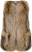 Eleventy fur fitted gilet