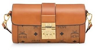 MCM Small Tracy Visetos Leather Barrel Bag