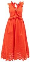 Self-Portrait Brodie Anglaise Cotton-poplin Maxi Dress - Womens - Orange