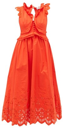 Self-Portrait Brodie Anglaise Cotton-poplin Maxi Dress - Orange