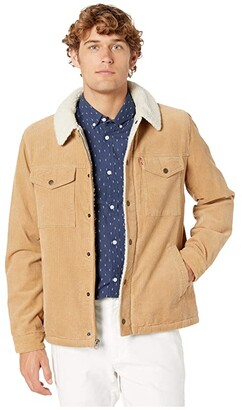 Levi's Two-Pocket Trucker with Soft Sherpa (Tan) Men's Clothing