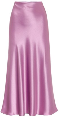 Galvan Purple Satin Valletta Midi Skirt