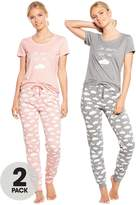 Very 2 Pack 'I Sleep On A Cloud' Print Short Sleeve Pj Set - Pink/Grey