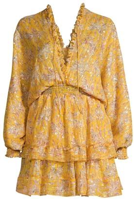 The Kooples Floral Long-Sleeve Mini Peasant Dress