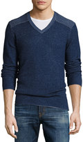 Neiman Marcus Cashmere V-Neck Pullover Sweater, Navy