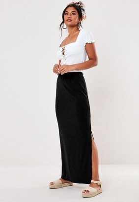 Missguided Black Jersey Maxi Skirt