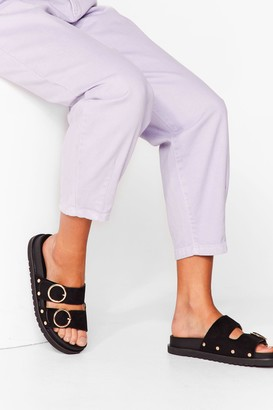 Nasty Gal Womens Ring It On Faux Suede Sandals - Black