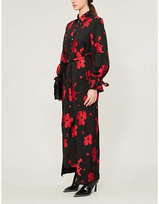 Roland Mouret Colada floral-patterned satin midi dress