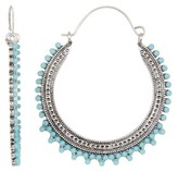 Natasha Accessories Stone Trim Detail Hoop Earrings