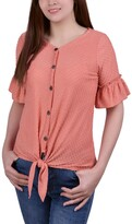 Thumbnail for your product : NY Collection Petite Swiss Dot Short Sleeve Tie Front Top