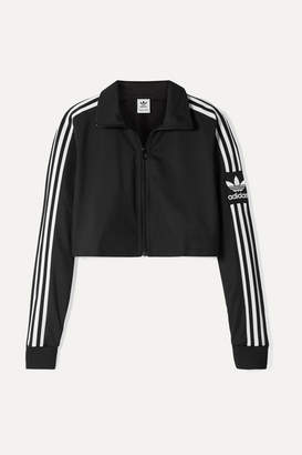adidas Cropped Striped Tech-jersey Track Jacket - Black