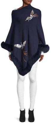 La Fiorentina Fox Fur-Trim Poncho