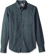 Naked & Famous Denim Men's Hank-Dyed Speckle Twill Long Sleeve Button Down Shirt