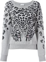 Saint Laurent leopard print sweatshirt - women - Cotton/Spandex/Elastane/Metal (Other) - S