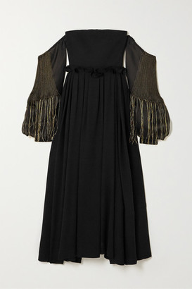 Loewe Off-the-shoulder Leather-trimmed Wool And Embroidered Silk-organza Gown - Black