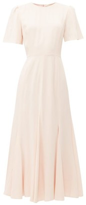 Goat Ivana Flared-hem Midi Dress - Womens - Light Pink