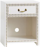 Studded Bedside, Lacquer Simply White