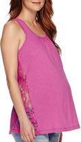 Asstd National Brand Maternity Crochet Lace Tank Top-Plus