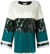 Aviu geometric pattern knitted blouse