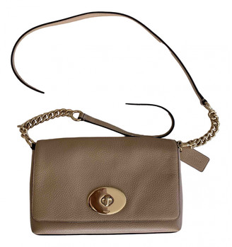 Coach Glovetan Dinky Crossbody Beige Leather Handbags