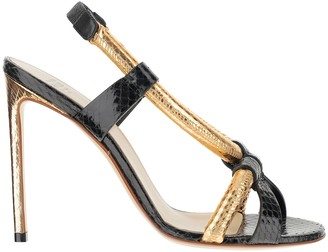 Francesco Russo Black and Metallic Gold Leather High Heel Sandals