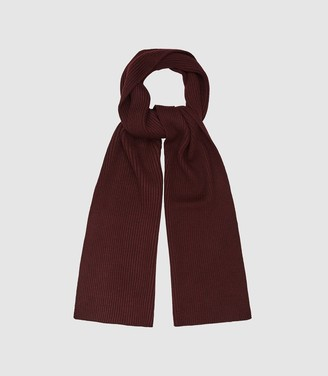 Reiss Rafferty - Ribbed Knitted Scarf in Bordeaux