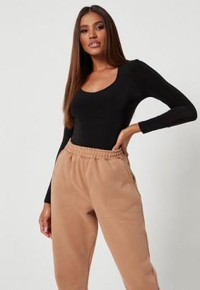 Missguided Petite Black Slinky Seam Free Square Neck Long Sleeve Bodysuit