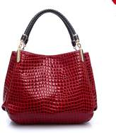 Myleas Crocodile Texture Artificial Leather Womens Tote Bag Handbag Shoulder Bags Totes for Women Red