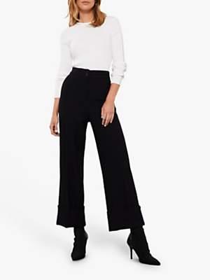 Mint Velvet Textured Wide Leg Trousers, Black