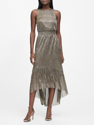 Banana Republic Petite Metallic High-Low Dress