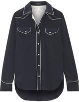 Rag & Bone Jesse Silk Crepe De Chine Shirt - Navy