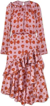 Johanna Ortiz Acordeon Del Mar Ruffled Printed Plisse-satin Dress