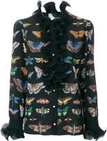 Gucci Butterfly print ruffled shirt