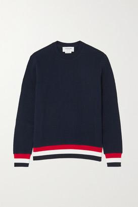 Thom Browne Striped Cotton-seersucker Sweatshirt - Navy