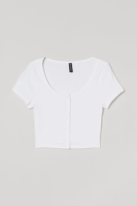 H&M Short Jersey Top - White