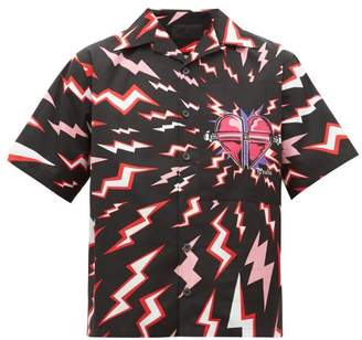 Prada Lightning-print Heart-patch Shirt - Mens - Black Multi
