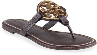 Tory Burch Miller Mock-Croc Metal Logo Slide Sandals