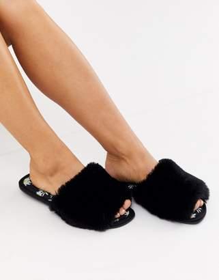 Asos Design DESIGN Zero daisy print fur slider slippers in black