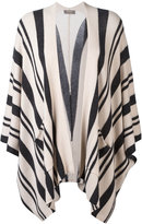 N.Peal striped poncho cardigan - women - Cashmere - One Size