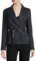 Donna Karan Long-Sleeve Belted Jacket, Charcoal