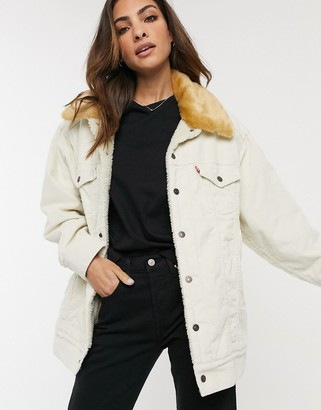 Levi's oversized cord Sherpa trucker jacket in white