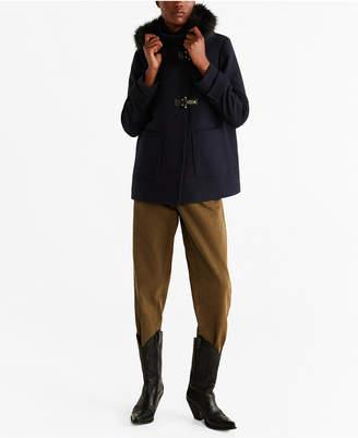 MANGO Faux Fur Hooded Wool Coat