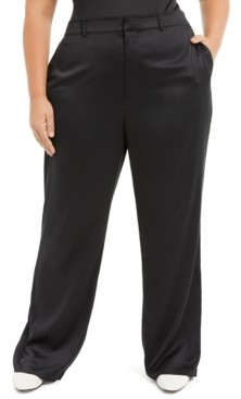 Danielle Bernstein Plus Size Satin Pants, Created for Macy's