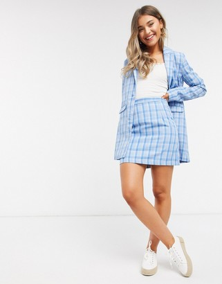 Heartbreak tailored mini skirt in blue plaid