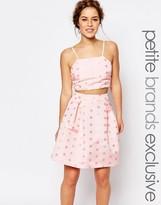 True Decadence Petite Cami Crop Top In Textured Spot