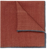 Drakes Drake's - Contrast-tipped Wool Pocket Square - Brick