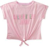 Calvin Klein Tie-Front Logo Cotton T-Shirt, Big Girls (7-16)