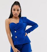 Club L London Petite one shoulder tailored blazer top in cobalt blue