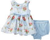 Laura Ashley Floral Stripe Print Dress & Bloomer 2-Piece Set (Baby Girls 3-9M)
